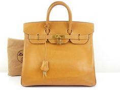 3a2da12bd4c3 r362 Auth HERMES Haut a Courroies Natural Vache Leather Hand Bag □B 1998 GHW