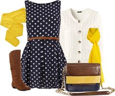 """""""Navy and Yellow"""" by chelseagirlfashion ❤ liked on Polyvore"""