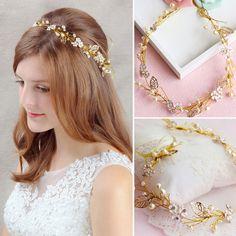 Vintage Wedding Bridal Crystal Pearl Hair Accessories Headband Band Tiara Crown #UnbrandedGeneric