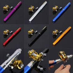 Mini Pocket Pen Aluminum Alloy Fishing Rod Pole And Reel Kit
