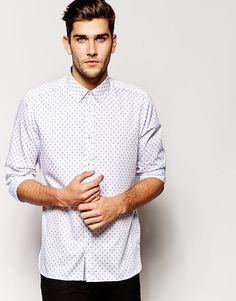 """Shirt by Ted Baker Crisp cotton All-over print Point collar Button placket Slim fit - cut closely to the body Machine wash 100% Cotton Our model wears a size Medium and is 188cm/6'2"""" tall"""
