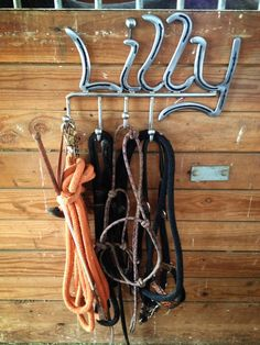 Custom Horse Tack Rack Made Out of Horse Shoes.  $25.00 A Letter. Jdone28@hotmail.com