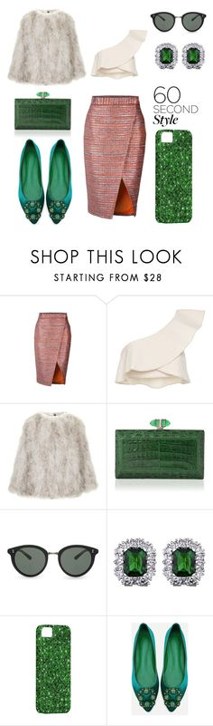 """Emerald Odyssey"" by sumaira-khalid ❤ liked on Polyvore featuring Isabel Marant, Topshop, Judith Leiber, Oliver Peoples, asymmetricskirts and 60secondstyle"