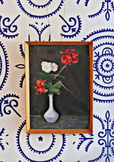 Still Life 'Geraniums' - Vintage Oil Painting from Black