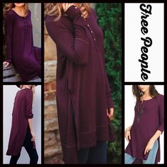 """Free People Henley Tunic Ribbed NEW WITH TAGS ***Model photos utilized in this listing were found on WWW.Nordstrom.com*** Free People Henley Tunic Ribbed Mini  * Oversized body/relaxed loose knit A-line silhouette  * Incredibly soft, ribbed, semi pleated fabric  * Side slits & long button sleeves  * About 34""""-38"""" long, tunic length  * Pullover/stretch-to-fit style  Fabric: 95% Rayon & 5% Spandex  Color: Dark Plum   No Trades ✅Offers Considered*/Bundle Discounts✅ *Please use the blue 'offer'…"""