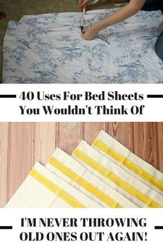 Don't toss out your old bed sheets! If you are a DIY enthusiast, you can upcycle… Don't toss out your old bed sheets! If you are a DIY enthusiast, you can upcycle your old bed sheets into so many useful… Continue Reading → Upcycled Crafts, Diy Crafts, Repurposed Items, Decor Crafts, Sewing Projects For Beginners, Projects To Try, No Sew Projects, Recycling Projects, Sewing Hacks