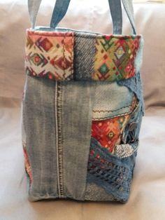 93ce64864fd Colorful fabrics and light blue denim bag. Etsy. Denim Handbags ...