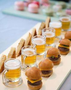 Mini grilled cheese, burgers and beer (2oz shots, buy them from amazon.com)