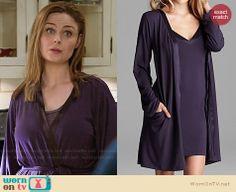 Brennan's purple satin trimmed robe on Bones.  Outfit Details: http://wornontv.net/32398/ #Bones
