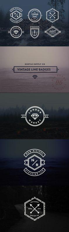 Vintage Line Badges Template #design Download: https://creativemarket.com/hustlesupplyco/47380-Vintage-Line-Badges?u=ksioks