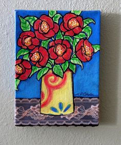 original acrylic collage Vase of Red Flowers