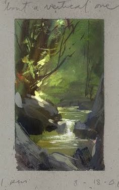 Land Sketch / Wow, what wonderful art. Beautiful colors, composition - eye is led through the painting, no competing distractions. absolutely love this artist's work! Art Aquarelle, Watercolor Paintings, Portrait Paintings, Acrylic Paintings, Art Paintings, Landscape Art, Landscape Paintings, Painting Inspiration, Art Inspo