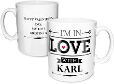 Personalise this In Love With Mug with a special person's name on the front, up to 12 characters.