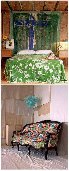 .I love this headboard, and the setee upholstered in this fun fabric....