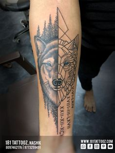 Wolves generally express Devotion, Loyalty to family and Survival.. This semi-realistic merged with geometric Wolf tattoo could be best to have.. Added up with family birthdates make it more meaningful and complete.. To get Such meaningful tattoos visit @181_tattooz_studio . For more details visit our website www.181tattooz.com