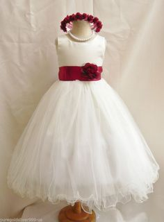 flower girl dresses ivory and claret - Google Search