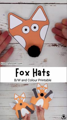 Fox Hats are so cute and easy to make. Such a fun fox craft for preschoolers. The head, arms and tail can all be glued in different positions to create lots of different looks. A lovely autumn craft or to go with forest animal or nocturnal study units. (Printable fox craft template in B/W and full colour.) #kidscraftroom #kidscrafts #foxcrafts #autumncrafts #fallcrafts #printable crafts #papercrafts Handmade Christmas Crafts, Halloween Arts And Crafts, Creative Arts And Crafts, Christmas Crafts For Kids, Halloween Kids, Craft Activities, Preschool Crafts, Easy Toddler Crafts, Fox Crafts