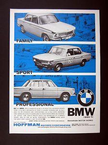 1965 BMW 1800 TI 1800TI Sedan 3x car photo vintage print Ad