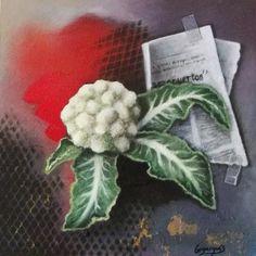 Trampantojo coliflor / Trompe l´oeil cauliflower 30 x 30 cm.  Óleo, pan de oro y spray sobre madera.