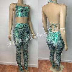 Money Print Set pants with matching top four way stretch metallic spandex Please include specific size needed in notes. Wrestling Costumes, Money Dance, Dance Wear, Clubwear, Attitude, Exotic, Bodycon Dress, Rompers, Model