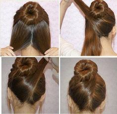 Half bun then cris cross lower part of hair around bun.