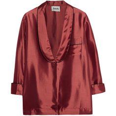 Issa Clara satin-twill shirt ($220) ❤ liked on Polyvore featuring tops, shirts, claret, lightweight shirt, red satin shirt, red satin top, shirt top and satin top