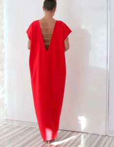 RED backless elegant Open Back maxi party by cherryblossomsdress