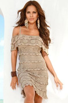 Cold-shoulder crochet dress