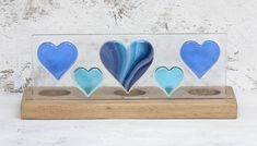 Blue & Turquoise Hearts Fused Glass Panel set in Oak Tealight Holder £50.00