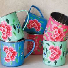 Hand-painted enamelware mugs with flowers from Kashmir