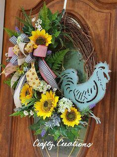 Farmhouse Grapevine Wreath Rooster Wreath Sunflower Wreath Country Grapevine Wreath For Front Door Spring Wreath Summer Wreath Teal Rooster Double Door Wreaths, Summer Door Wreaths, Autumn Wreaths, Easter Wreaths, Holiday Wreaths, Spring Wreaths, Diy Wreath, Grapevine Wreath, Wreath Ideas