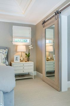 mirror barn door to closet! House of Turquoise: Mpls.Paul Magazine ASID MN Showcase Home Barn Door Baby Gate, Bedroom Barn Door, Closet Bedroom, Home Bedroom, Bedroom Decor, Barn Door For Bathroom, Bathroom Closet, Bathroom Doors, Basement Bathroom