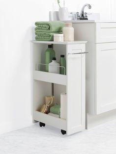 Bathroom Floor Organizer Storage Rolling Cabinet White Bath Toilet Towel  Shelves