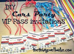 Cars Party VIP Pit Pass Invitations with Photoshop Template - Oh, The Things We'll Make!