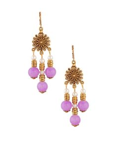 Exquisite Lilac Agate And Pearl Drop Earrings