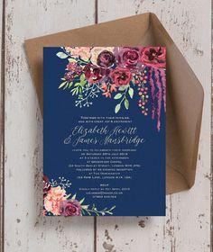 Personalised Navy & Burgundy Floral Wedding Invitations. Printable PDF or Printed & Delivered