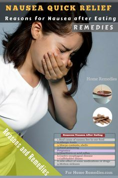 Quick Home Remedies & Reasons for Nausea after Eating ( After Food ). Why do I have nausea after eating? The list of reasons for nausea after eating and best home remedies. Food For Nausea, Causes Of Nausea, Constant Nausea, Home Remedies For Vomiting, Get Rid Of Nausea, Nausea Relief, Headache Remedies, Abdominal Pain, Natural Home Remedies