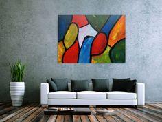 Buntes Gemälde mit vielen  farbigen Flächen modern abstrakt 100x140cm von xxl-art.de