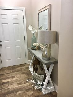 Cement top entryway table by ModernRefinement on Etsy