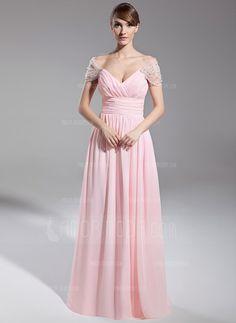 Special Occasion Dresses - $158.99 - A-Line/Princess Off-the-Shoulder Floor-Length Chiffon Tulle Evening Dress With Ruffle Beading (008014708) http://amormoda.com/A-line-Princess-Off-the-shoulder-Floor-length-Chiffon-Tulle-Evening-Dress-With-Ruffle-Beading-008014708-g14708