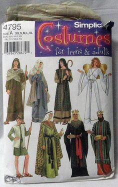 Nativity Christmas Costumes Adult Angel Shepherd Mary Simplicity Pattern 4795 A #Simplicity