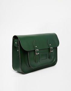 Enlarge The Leather Satchel Company 14'' Racing Green Satchel