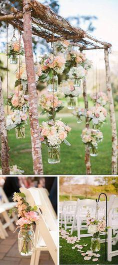 Tarros de cristal para bodas. Decoración ceremonia boda