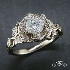 Beautiful Jewelry Diamond lotus engagement ring from Green Lake Jewelry. Would be really pretty with a colored stone - maybe teal or lavender. Lotus Engagement Ring, Morganite Engagement, 10 Year Anniversary Gift, Anniversary Jewelry, Diamond Wedding Bands, Wedding Rings, Sapphire Wedding, Custom Jewelry, Vintage Jewelry