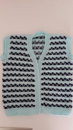 Bebek yelek modeli Sweater Knitting Patterns, Knit Patterns, Baby Knitting, Baby Vest, Baby Cardigan, Crochet For Kids, Knit Crochet, Boys Sweaters, Tops