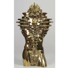 #Bronze #sculpture by #sculptor Toma Nenov titled: 'Torso M (Bronze abstract nude Male Torso Chests Outside statues)'. #TomaNenov
