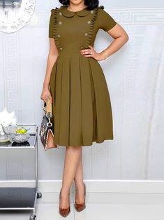 Stringy Selvedge Pleated Plain Fashion Plain Women's A-Line Dress Women's A Line Dresses, Elegant Dresses, Cute Dresses, Casual Dresses, Classy Work Outfits, Classy Dress, Latest African Fashion Dresses, Women's Fashion Dresses, Woman Dresses