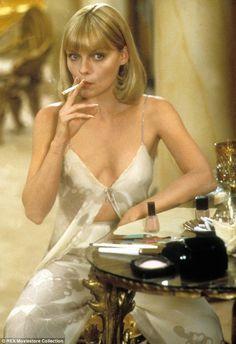 Scarface - Michelle Pfeiffer as Elvira Hancock, directed by Brian De Palma Elvira Hancock, Michelle Pfeiffer Scarface, Malboro, Popular Actresses, Icy Blonde, Actrices Hollywood, Women Smoking, Smoking Girls, Up Girl
