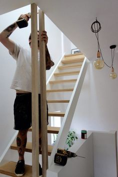 Banisters balustrades and building regs The alternative loft staircase Modern Stairs Alternative balustrades Banisters building Loft regs Staircase Loft Staircase, Basement Stairs, House Stairs, Staircase Design, Staircase Handrail, Staircase Ideas, Modern Stair Railing, Modern Stairs, Attic Renovation