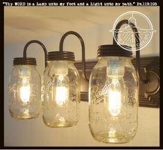 Our most popular Mason Jar Vanity light comes with three trademark BALL jars in three finishes. Install this rustic wall sconce lighting fixture in seconds for a quick update to your farmhouse decor. Diy Mason Jar Lights, Mason Jar Light Fixture, Mason Jar Wall Sconce, Diy Light Fixtures, Mason Jar Bathroom, Ball Mason Jars, Bathroom Light Fixtures, Mason Jar Lighting, Mason Jar Diy